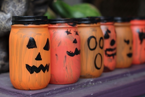 Painted Jar Jack-o-lanterns