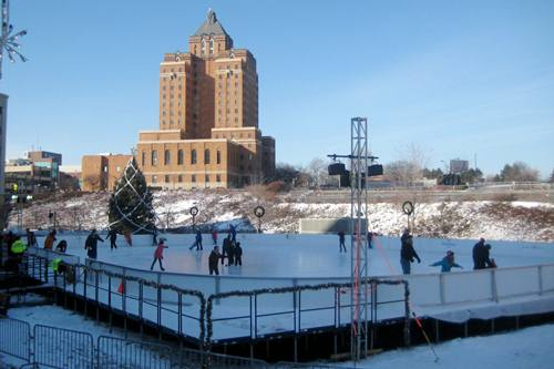 Outdoor Ice Skating Rink at Lock3 in Akron