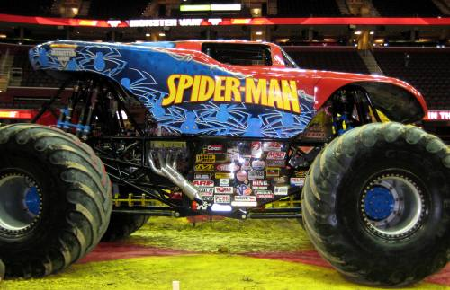 Spiderman Monster Truck at the Pit Party