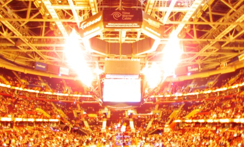 Quicken Loans Arena Scoreboard Lit Up with Flames