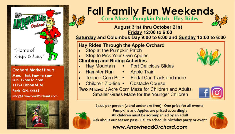 2018 Fall Festival Schedule Arrowhead Orchards