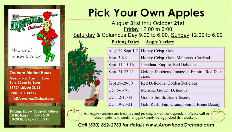 Arrowhead Orchard Apple Picking Schedule