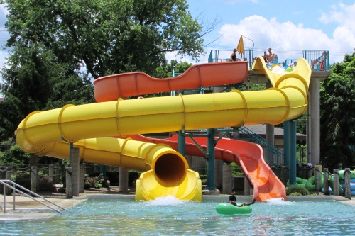 Outdoor Water Slides at Waterworks Pool Cuyahoga Falls Ohio