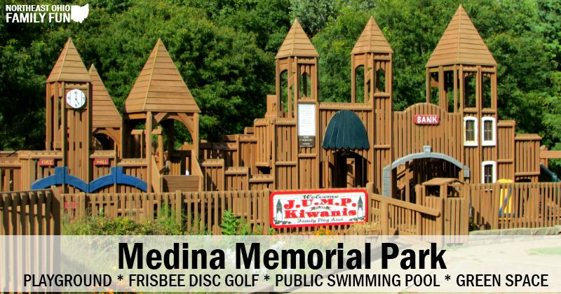 Medina Memorial Park – Castle Playground, Swimming Pool, Disc Golf and More!