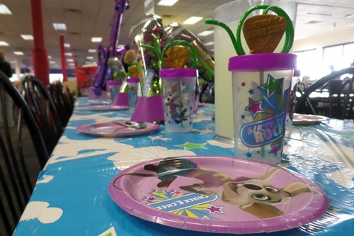 Birthday Party Set-up at Chuck E Cheese