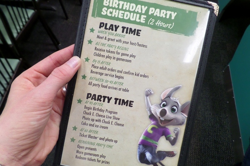 Chuck E Cheese Party Schedule