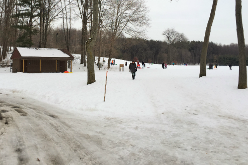 Sled Riding at Goodyear Heights Metropark Summit County Ohio