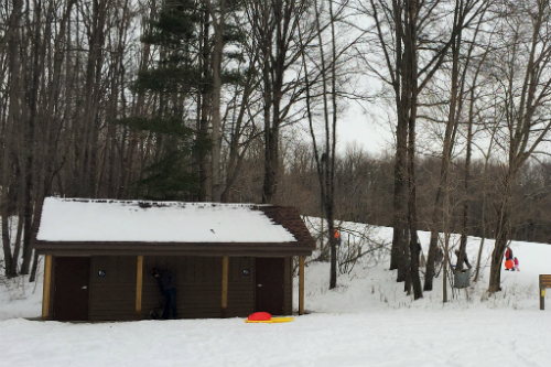 Restrooms at the bottom of the sledding hill