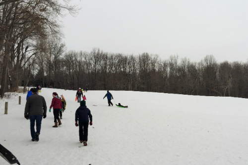 Sledding in Akron Ohio