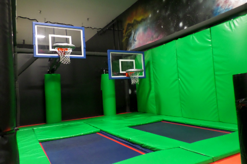 Basketball Hoops in the Trampoline Park