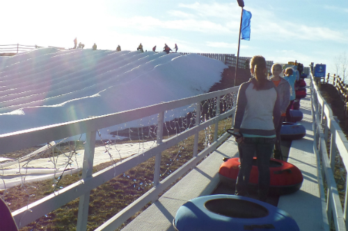 Riding to Top of the Hill Snow Tubing