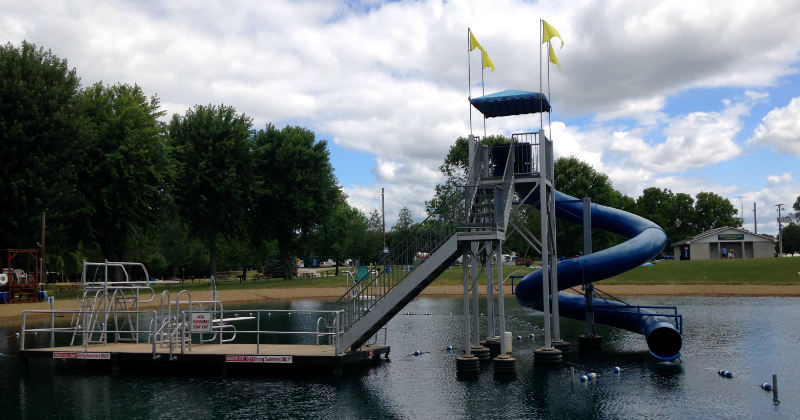 Water slide and diving boards at Baylor Beach Park