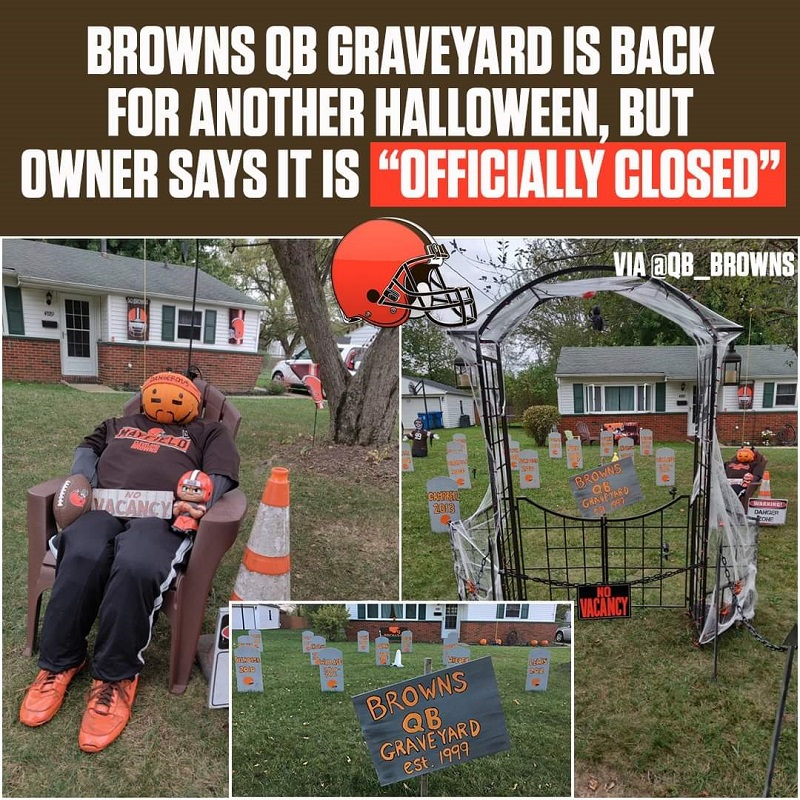 Browns Quarterback Graveyard Halloween Display