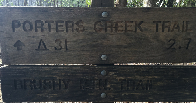 Porters Creek Trail Head Sign